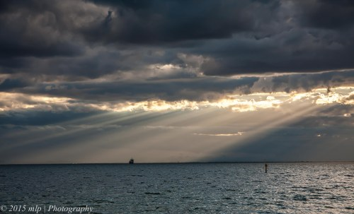 Jacobs Ladder over Williamstown Colour from Elwood Beach, 18 April 2015