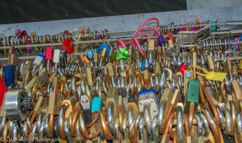 Padlocks on the Yarra Walking Bridge, Melbourne CBD