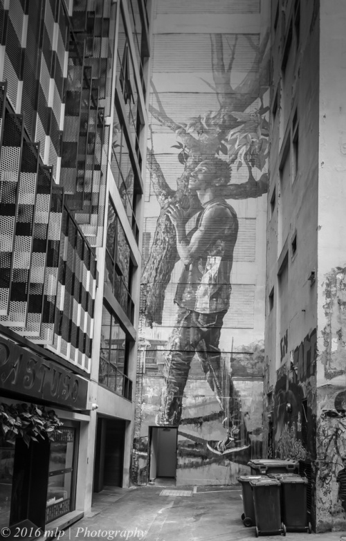 BW 2 ACDC Lane Man with Tree Mural, Melbourne CBD, 29 Feb 2016