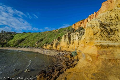 Golden Hour light on cliffs, Black Rock Beach, Victoria